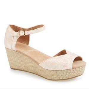 TOMS Floral Jacquard Platform Wedge Wedding Sandal